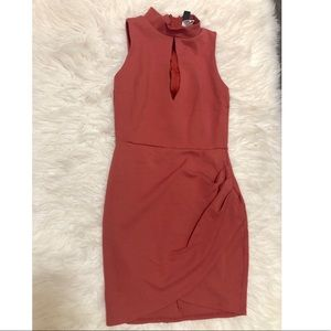 Salmon Fitted Dress